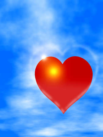 red heart on the sky sun and clouds Stock Photo