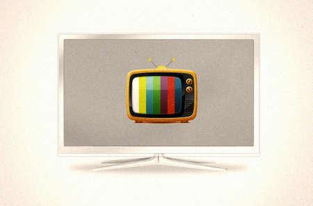 aparatos de tv modernos y antiguos uno en otro Foto de archivo - 9012367