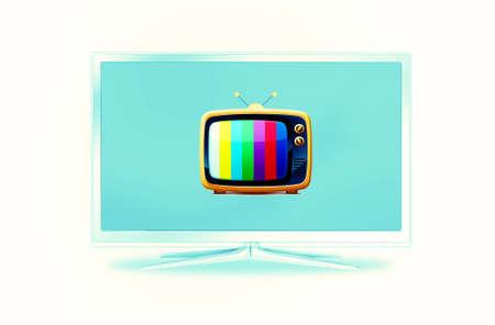 aparatos de tv modernos y antiguos uno en otro Foto de archivo - 9012266