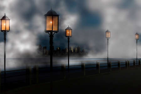cold night with autumn fog in the city photo