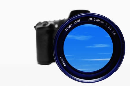 ttl: photo camera with blue sky on the lenses