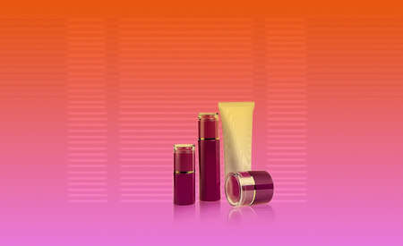cosmetics display on wal with windows dim light backgroundl Stock Photo
