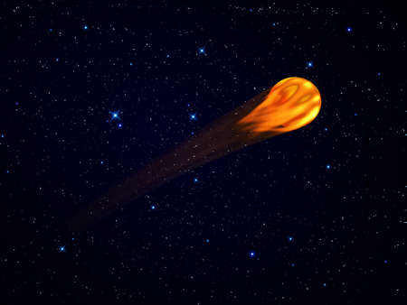 incandescent moving  fireball on the sky with flames photo