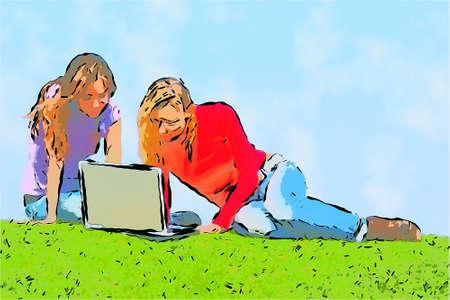 cartooned: girls with computer  on grass cartooned design
