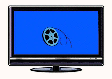 LCD display with film roll on the screen in cartoon mode