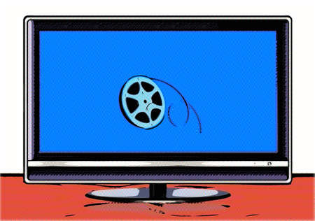 elegant display with film roll on the screen in cartoon mode photo