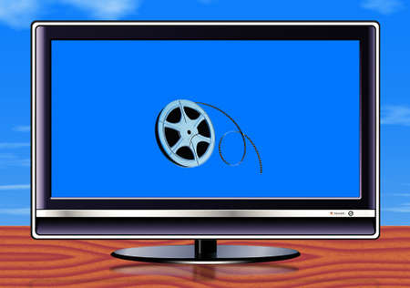 elegant display with film roll on the screen on sky blue background Stock Photo