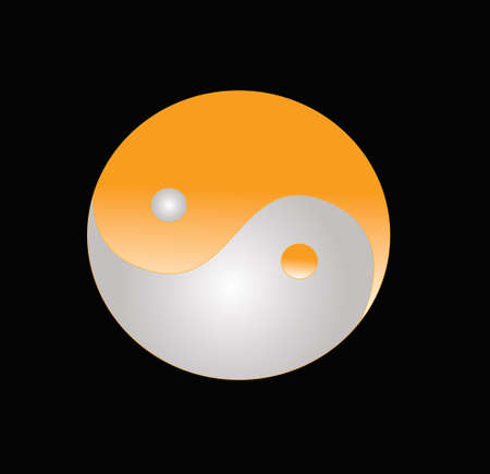 taoism: yin yang model on orange color and black background Stock Photo