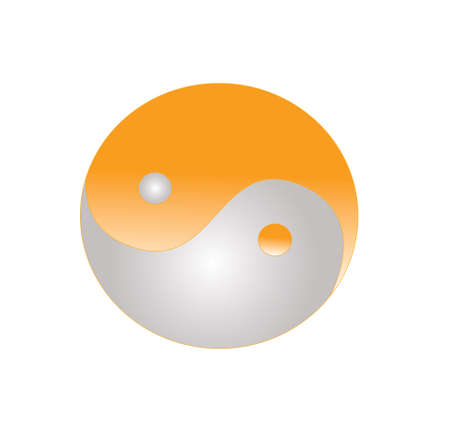 yin yang model on orange color and black background Stock Photo