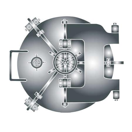 vaulted door: hard steel vault
