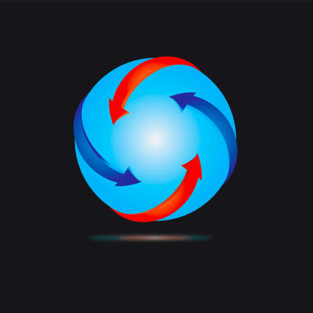 blue sphere with red  and blue arows
