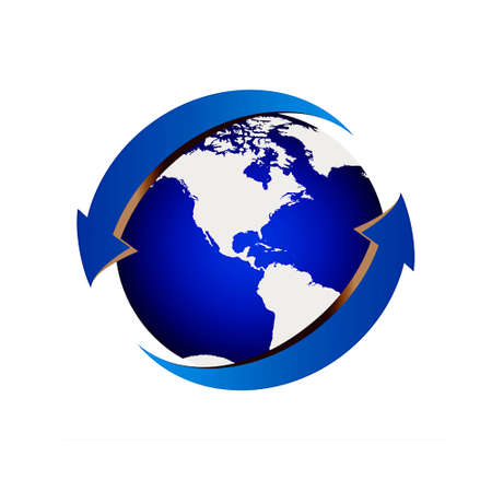 Blue Earth with arrows around