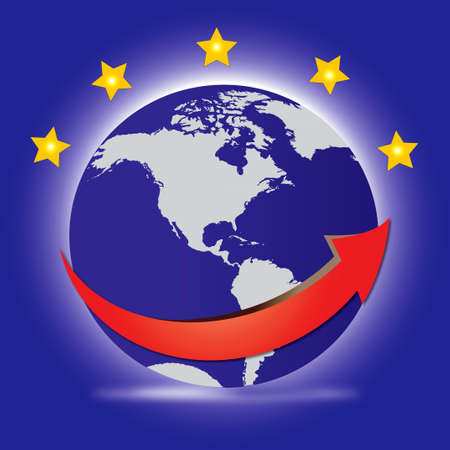 planet Earth with stars and red arrow Stock Photo - 11125724