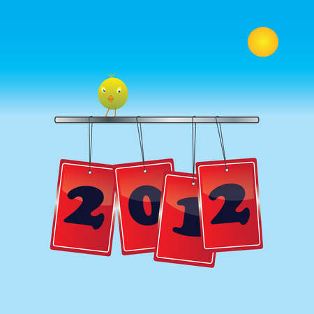 red bags with 2012 numbers on for red bags with bird sitting on blue sky with sun