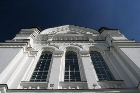 church on a background of the dark blue sky aspiring up photo