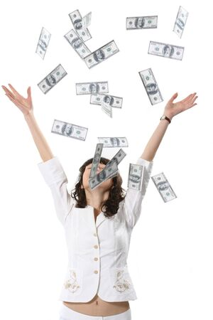 The charming woman is showered by set of money Stock Photo - 4250923