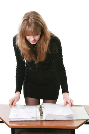 The business nice woman works with documents photo