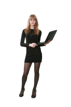 The business woman with a computer on a white background photo
