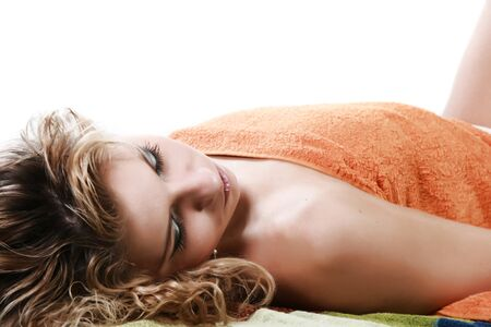 The young woman has a rest on cosmetic procedures Stock Photo - 4251096