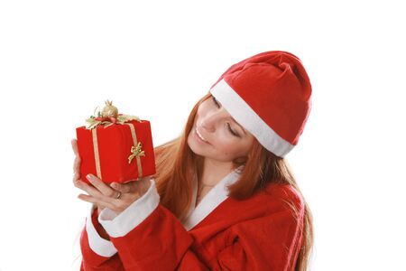 Christmas isolated the woman in a suit santa photo