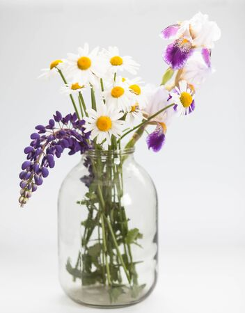 Beautiful bouquet of wild flowers in a glass vase on a white background