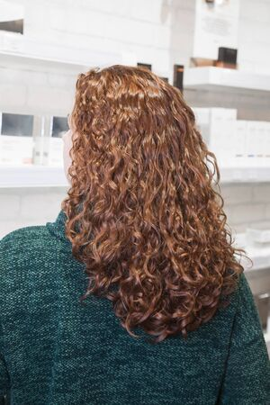 Beautiful Slavic hair on the model after care and restoration procedures in a beauty salon Banque d'images