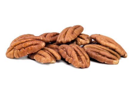 pecans: Pecans on a White Background, Isolated  Stock Photo