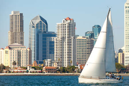 san diego: Downtown San Diego and Sail Boat, Southern California USA Stock Photo