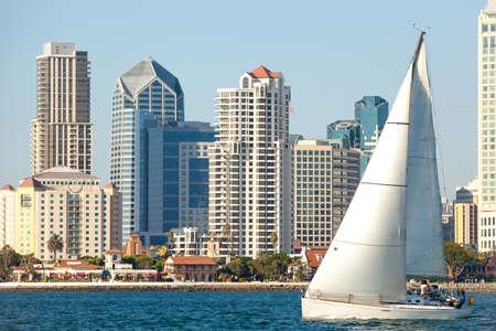 Downtown San Diego en de Boot van het zeil, Southern California USA Stockfoto