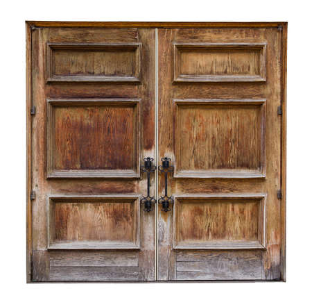 Oude houten deur die op een witte achtergrond