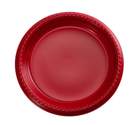 Red Plastic Plate, Disposable Plastic Plate for Parties