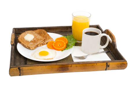 Morning breakfast on a White