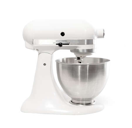 White Stand Mixer Isolated on a White Background photo