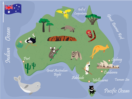 Australian map with animals and landmarks