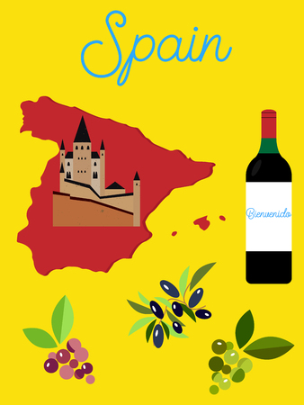 spanish food: Illustrated poster of Spain. Spanish landmarks.
