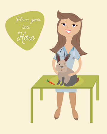 Illustration of the lovely veterinarian with rabbit Illustration