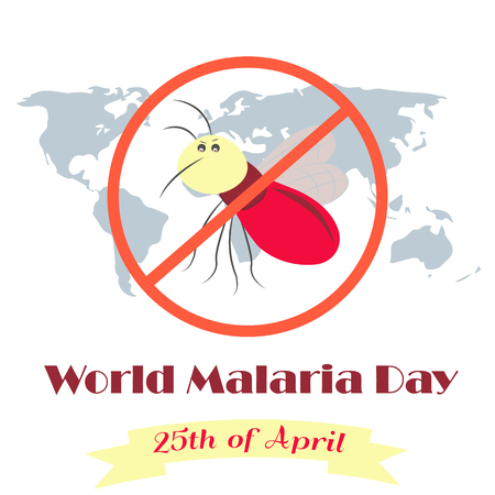 commemoration day: Illustration of the planet and mosquito for the World Malaria Day