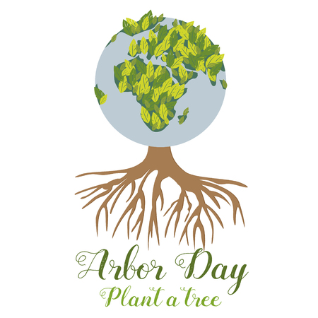 Illustration of the green planet and tree for the Arbor Day.