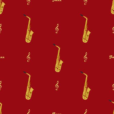 Modèle sans couture avec saxophones, clés de sol et mot jazz. Peut être utilisé pour l'emballage, les couvertures de livres, l'enveloppe, etc.