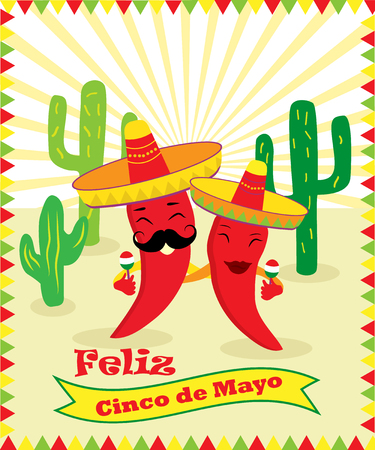 Poster for Cinco de Mayo with two chilli peppers, guitar, sombrero and cacti