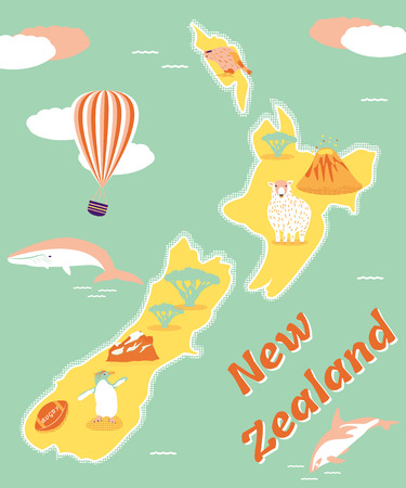 Vintage tourist poster of New Zealand with penguin, whale, balloon, dolphin etc