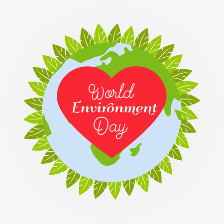 sea pollution: Eco poster with globe, heart. leaves and text for the world environment day Illustration