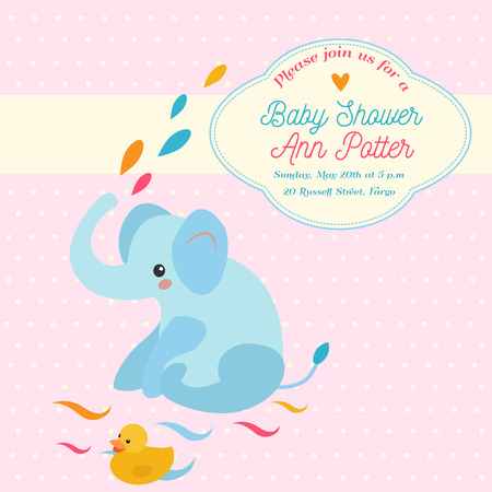 Baby shower invitation card with elephant and little duck