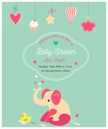 Baby shower cute invitation and with elephant and little duck