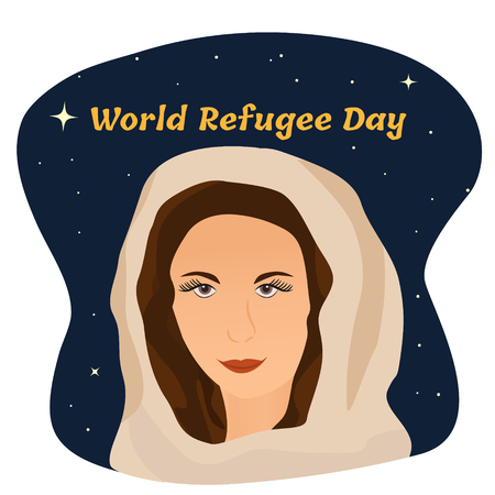 Poster with muslim girl for the world refugee or migrants day