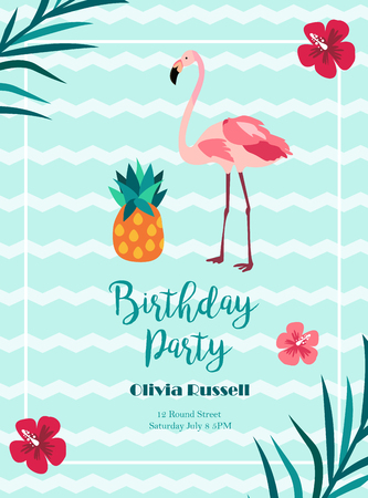 Bright Birthday invitation in Hawaiiian style with flamingo and pineapple