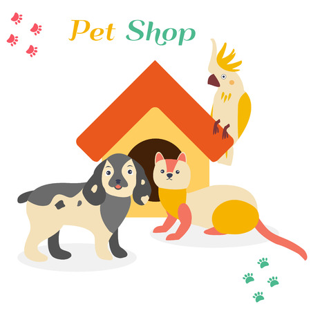 Bright images of domestic animals parrot, dog and ferret.