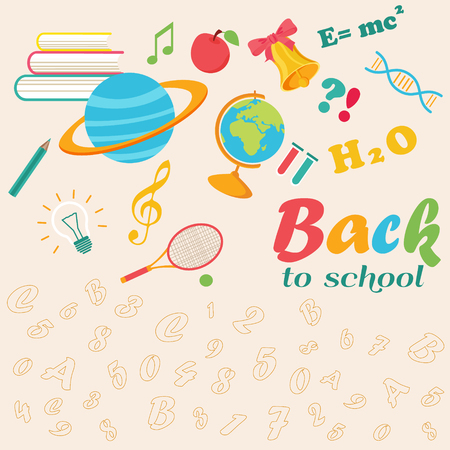 Back to school background with globe, planet, stationery and text.