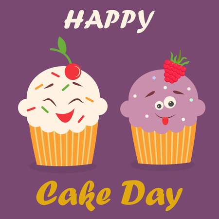 cupcakes isolated: Holiday poster for International Cake Day