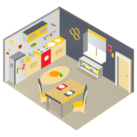 refrigerator: Bright isometric kitchen with furniture